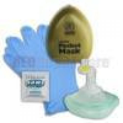 Laerdal Pocket Mask w/ gloves & wipe and Olive Green Hard Case