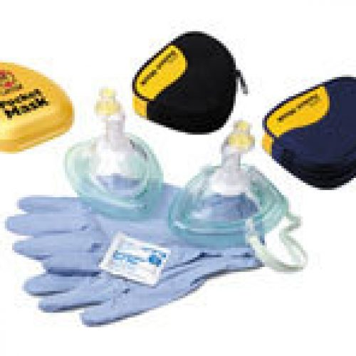 Laerdal Pocket Mask w/ Oxygen Inlet & Head Strap in Blue Soft Pack