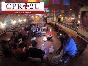 CPR2U teaching CPR at Guadalajara Original Grill