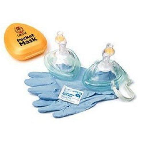 Laerdal Pocket Mask w/ Oxygen Inlet & Head Strap w/ gloves & wipe in Yellow Hard Case